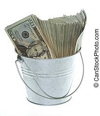 vinte, dólar, contas, prata, balde