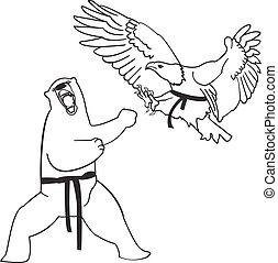 Martial arts . Vector illustration. Bear and eagle.