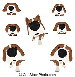 Dog with large head and nose. Vector Illustration.
