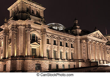 Reichstag building at night. Berlin, Germany.