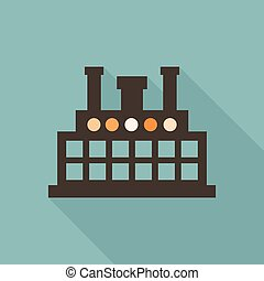 Factory flat icon - Factory in flat style. Vector...