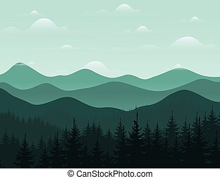 Mountain8 - Forest and mountain landscape. Vector...