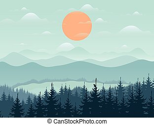 Mountain9 - Forest and mountain landscape. Vector...