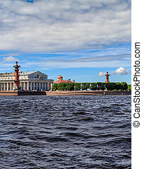 Rostral columns on the river Neva in St. Petersburg, sunny...