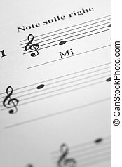 Music sheet background - MI musical note in the treble clef...