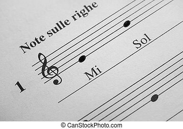 Music sheet background - Musical notes E and G in the treble...