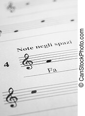 Music sheet background - Musical note FA in the treble clef...