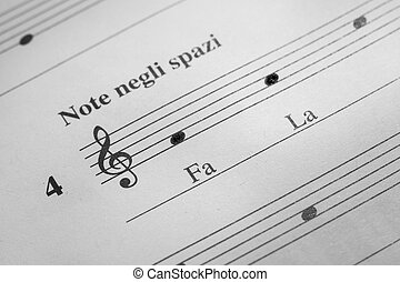 Music sheet background - Musical notes F and A in the treble...
