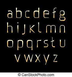 alphabetic gold fonts - gold alphabetic fonts, lowercase...