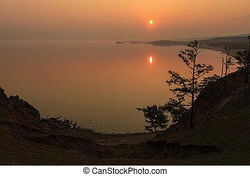 Sunrise on the lake Baikal, Irkutsk region, Russia