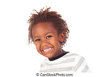 African child making funny faces isolated on white...