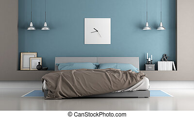 Blue and brown modern bedroom with double bed - 3d rendering