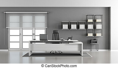 White and gray modern office - White and gray minimalist...
