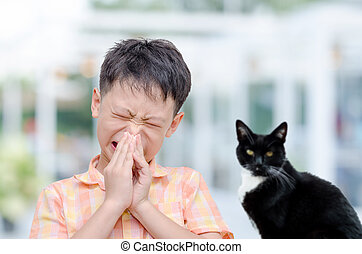 boy has allergies with fur particles allergy fever from cat...