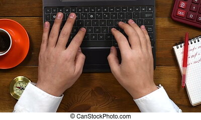 Businessman Typing On Laptop - Male Hands Typing On Laptop...