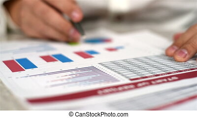 Man Fills Financial Report - Accountant Man Fills Annual...