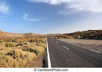 Road to El Teide volcano, national park on Tenerife Island,...