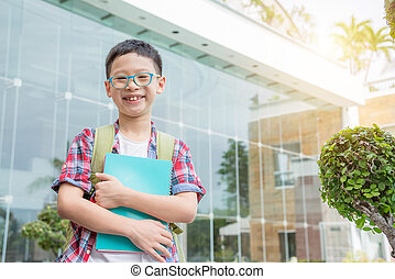 student smiling at school