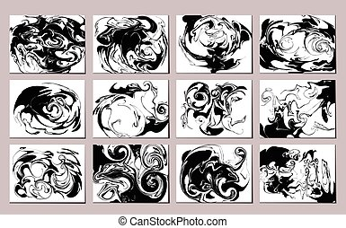Vector marble patterns set - Vector illustration of marbling...