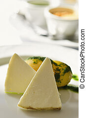 majorero cheese from Spain - closeup of some pieces of...