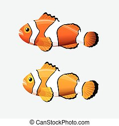 Clown fish icon in flat style on a white background -...