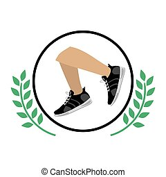 Isolated running shoes design - Running shoes icon. Healthy...