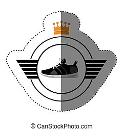 Isolater running shoes design - Running shoes icon. Healthy...