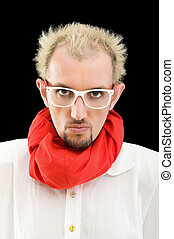 Man with red scarf on the black