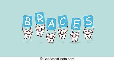teeth holding billboard of braces - Cartoon teeth holding a...