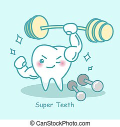 cute super teeth with dumbbell