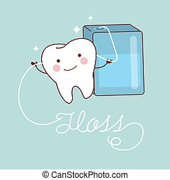 cute cartoon teeth with floss