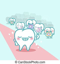 happy cartoon tooth with paparazzi, great for your health