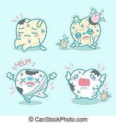 cartoon teeth have toothache - cute cartoon teeth have...