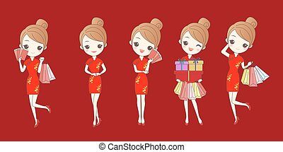 girl with chinese new year