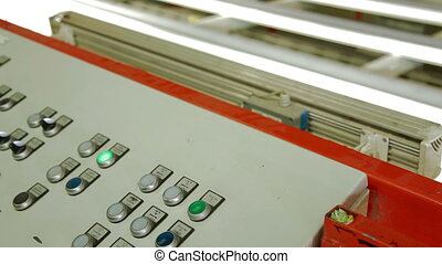 Remote control of laminated chipboard machine - furniture...