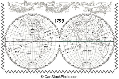 Vector old globe with nymphs - Vector old globe, map of...