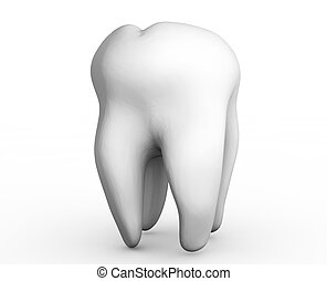 3d rendered tooth isolated on white background