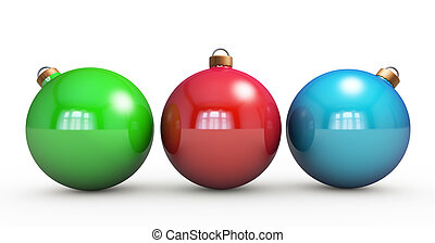 Multi-colored Christmas balls hanging on white. RGB colors....