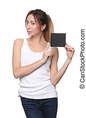 Woman holding blank black sign. Close up. White background -...