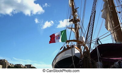 Italian Nautical flag with emblem of four Maritime...