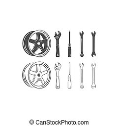 Set of car service tools and tire isolated on a white...