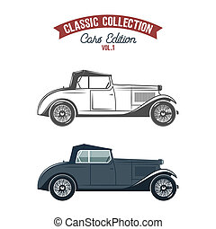 Retro car icons, symbols in flat color and monochrome style....