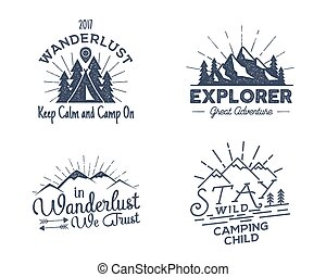 Set of outdoors activity badges. Retro illustration outdoor...