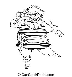 Happy tattooed pirate with a prosthetic, weapons, map and...