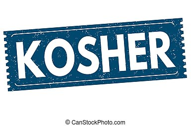 Kosher sign or stamp - Kosher grunge rubber stamp on white...