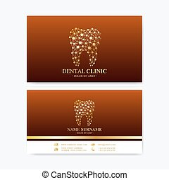 Premium Business Card Print Template. Visiting Dental Clinic Card with Tooth Logo. Dentist Office Oral Care. Dental Implants. Medical Design Golden Tooth Logo.