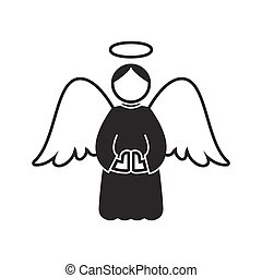 Christmas angel icon on white background
