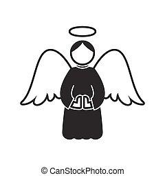 Christmas angel icon on white background