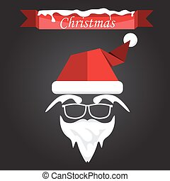 Santa claus with beard, mustache and glasses. vector illustration