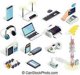Wireless Technology Devices Isometric Icons Set - Wireless...